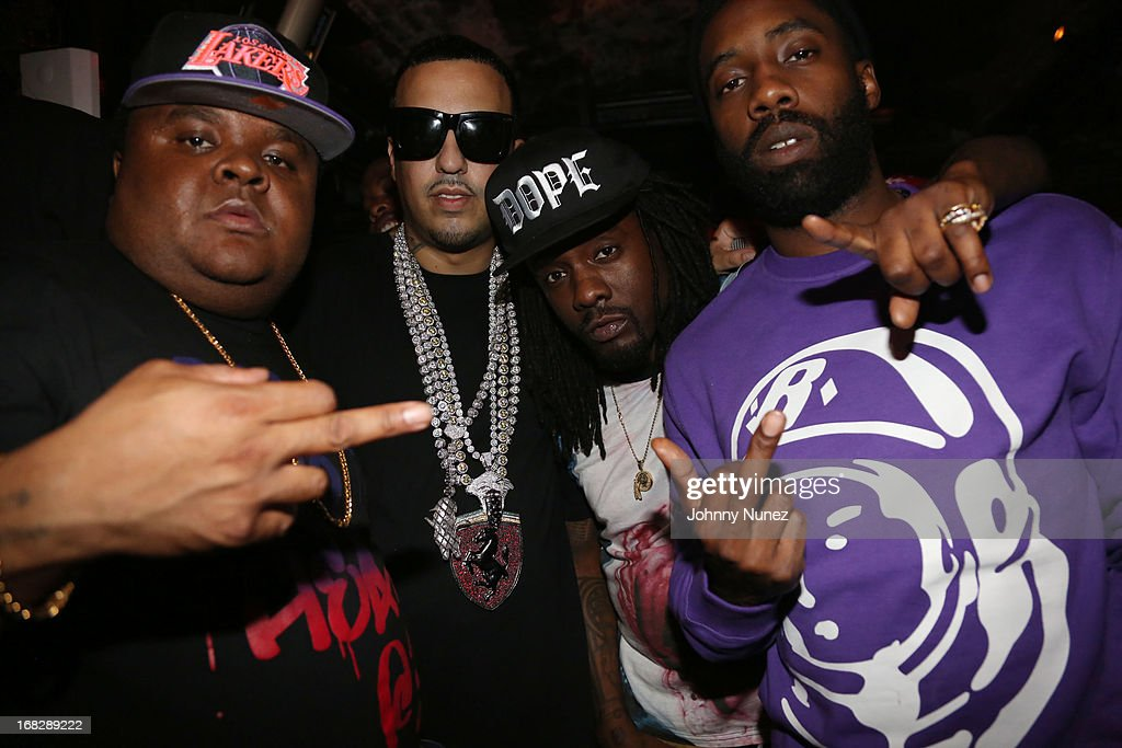 Fred The Godson, <a gi-track='captionPersonalityLinkClicked' href=/galleries/search?phrase=French+Montana&family=editorial&specificpeople=7131467 ng-click='$event.stopPropagation()'>French Montana</a>, <a gi-track='captionPersonalityLinkClicked' href=/galleries/search?phrase=Wale+-+Rapper&family=editorial&specificpeople=8770277 ng-click='$event.stopPropagation()'>Wale</a> and Black Cobain attend the <a gi-track='captionPersonalityLinkClicked' href=/galleries/search?phrase=French+Montana&family=editorial&specificpeople=7131467 ng-click='$event.stopPropagation()'>French Montana</a> Album listening party at HiLo on May 7, 2013 in New York City.