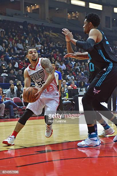 Fred VanVleet of the Raptors 905 drives to the basket against the Greensboro Swarm on November 18 2016 at the Hershey Centre in Mississauga Ontario...