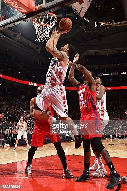 Fred VanVleet of the Raptors 905 drives to the basket against the Grand Rapids Drive on December 20 at the Air Canada Centre in Toronto Ontario...