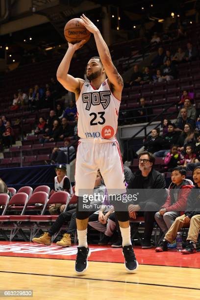 Fred VanVleet of the Raptors 905 shoots the ball against the Windy City Bulls on March 30 2017 in Mississauga Ontario Canada NOTE TO USER User...