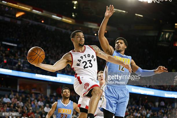 Fred VanVleet of the Toronto Raptors drives to the basket against the Denver Nuggets on October 3 2016 at the Scotiabank Saddledome in Calagary...