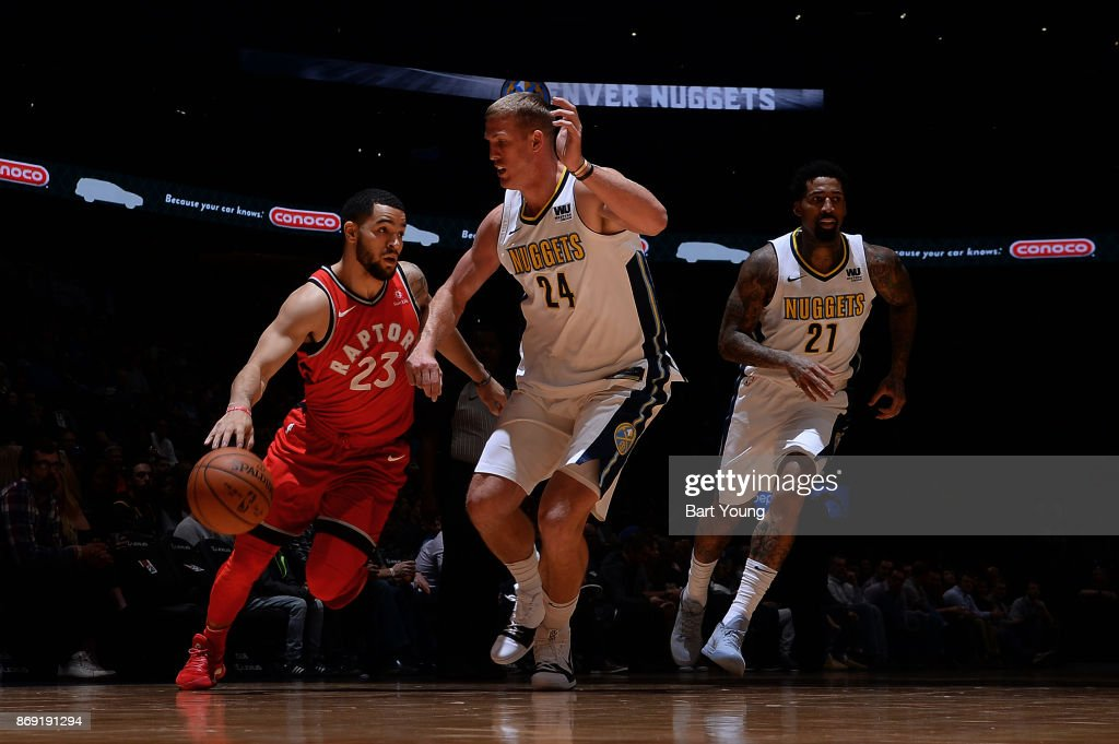 Fred VanVleet #23 of the Toronto Raptors handles the ball against the Denver Nuggets on November 1, 2017 at the Pepsi Center in Denver, Colorado.