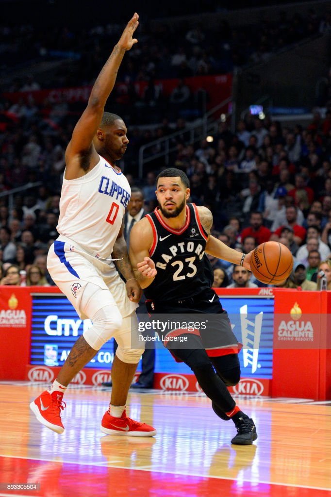 Fred VanVleet #23 of the Toronto Raptors plays against Sindarius Thornwell #0 of the Los Angeles Clippers on December 11, 2017 at STAPLES Center in Los Angeles, California.