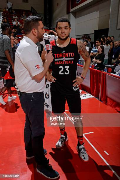 Fred VanVleet of the Toronto Raptors speaks to NBA TV analyst Jared Greenberg during the 2017 Las Vegas Summer League on July 7 2017 at the Cox...