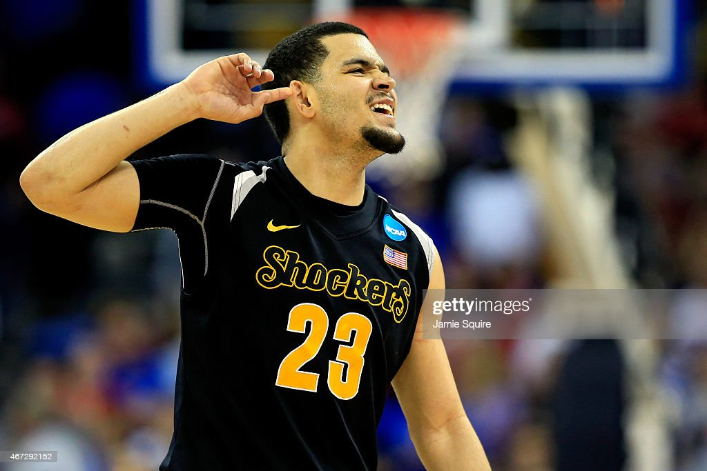 Fred VanVleet #23 of the Wichita State Shockers celebrates as the second half ends against the Kansas Jayhawks during the third round of the 2015 NCAA Men's Basketball Tournament at the CenturyLink Center on March 22, 2015 in Omaha, Nebraska.