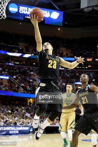 Fred VanVleet of the Wichita State Shockers drives to the basket in the second half against the Notre Dame Fighting Irish during the Midwest Regional...