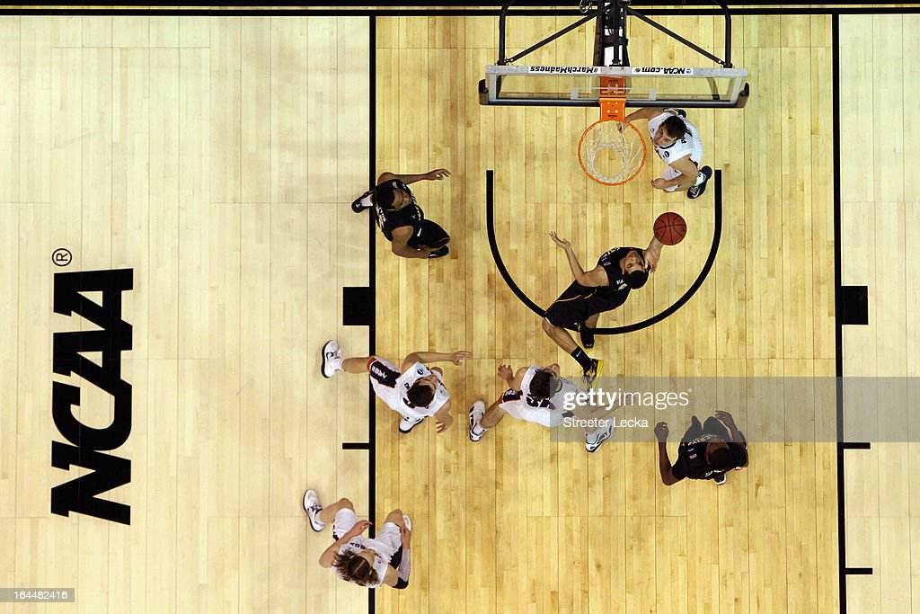 Fred VanVleet of the Wichita State Shockers drives to the basket against the Gonzaga Bulldogs during the third round of the 2013 Men's NCAA...