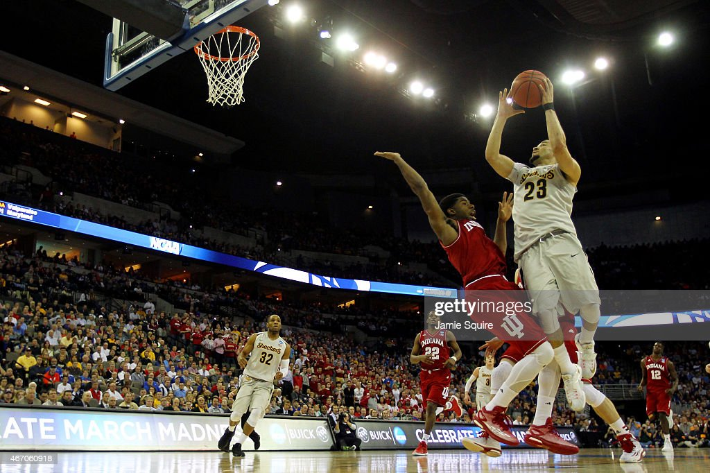 Fred VanVleet #23 of the Wichita State Shockers takes a shot against the Indiana Hoosiers during the second round of the 2015 NCAA Men's Basketball Tournament at the CenturyLink Center on March 20, 2015 in Omaha, Nebraska.