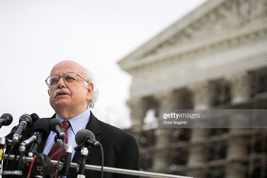 Fred Wertheimer speaks at the Supreme Court in Washington, on October 8, 2013 in Washington, DC. On Tuesday, the Supreme Court will hear oral arguments in McCutcheon v. Federal Election Committee, a first amendment case that will determine how much money an individual can contribute directly to political campaigns.