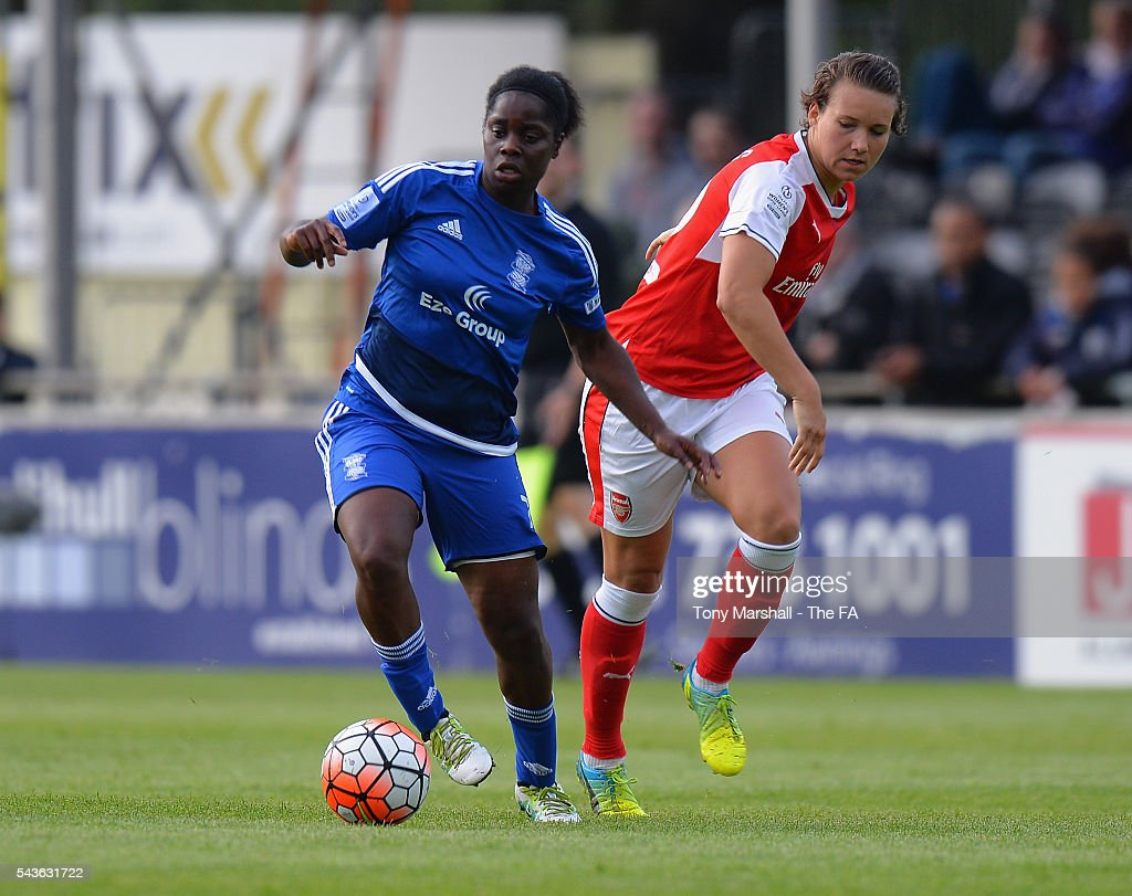 Freda Ayisi of Birmingham City Ladies is tackled by <a gi-track='captionPersonalityLinkClicked' href=/galleries/search?phrase=Josephine+Henning&family=editorial&specificpeople=5152624 ng-click='$event.stopPropagation()'>Josephine Henning</a> of Arsenal Ladies FC during the WSL match between Birmingham City Ladies and Arsenal Ladies FC at Automated Technology Stadium on June 29, 2016 in Solihull, England.