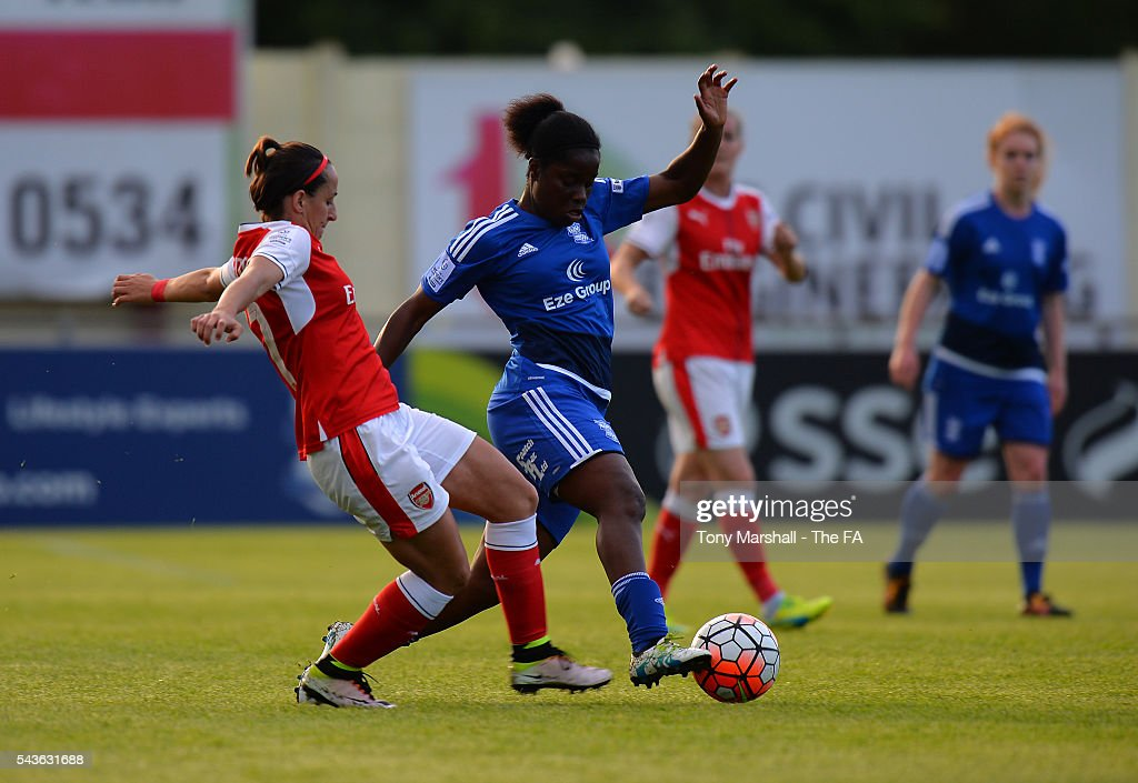 Freda Ayisi of Birmingham City Ladies is tackled by <a gi-track='captionPersonalityLinkClicked' href=/galleries/search?phrase=Marta+Corredera&family=editorial&specificpeople=8671709 ng-click='$event.stopPropagation()'>Marta Corredera</a> of Arsenal Ladies FC during the WSL match between Birmingham City Ladies and Arsenal Ladies FC at Automated Technology Stadium on June 29, 2016 in Solihull, England.