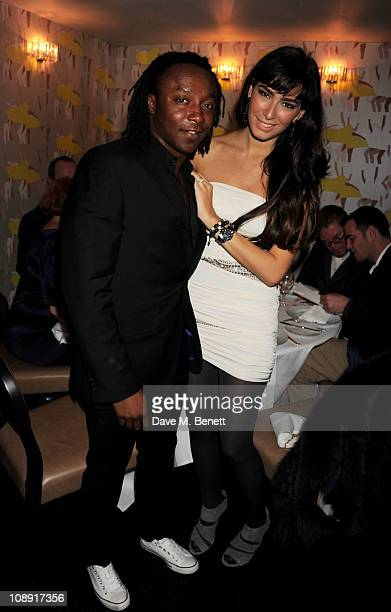 Freddie Achom and guest attend an after party celebrating artist Gary Hume's exhibit at White Cube at Pollen Street restaurant on February 8 2011 in...