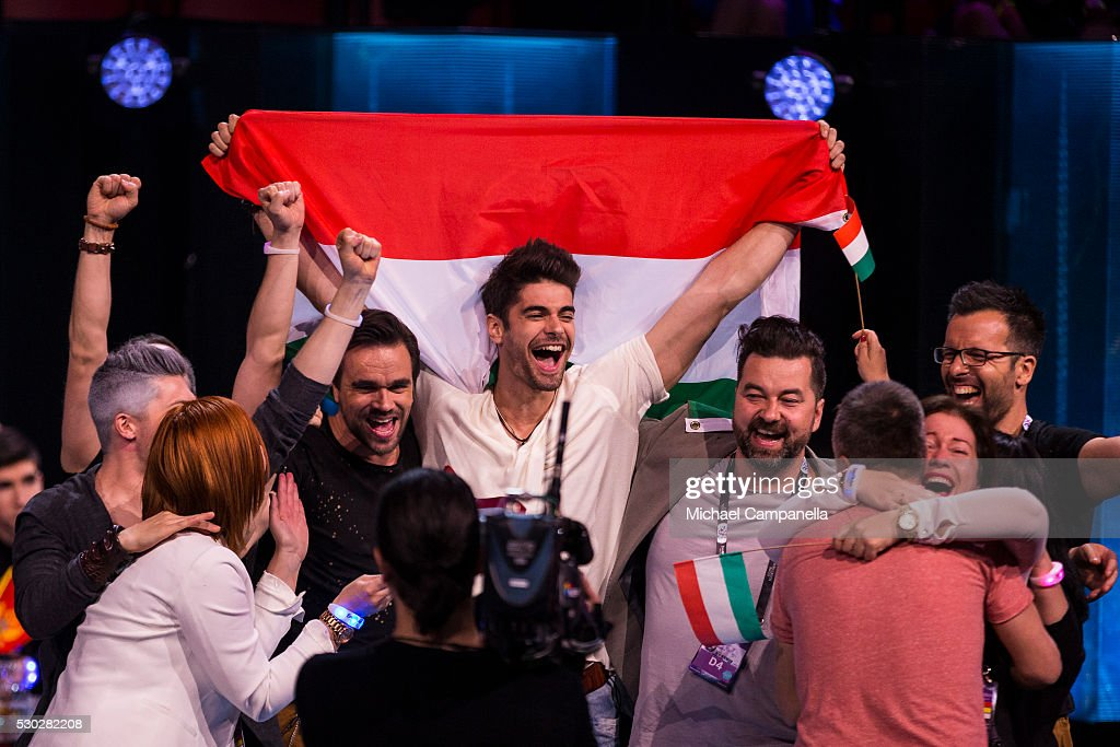 Freddie and his team representing Hungary celebrate qualifying for the finals of the 2016 Eurovision Song Contest at Ericsson Globe Arena on May 10...