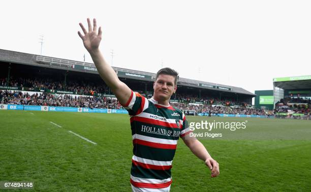 Freddie Burns acknowledges the applause of the crowd after making his last appearance for Leicester at Welford Road during the Aviva Premiership...