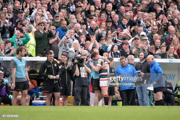 Freddie Burns is comforted by Geordan Murphy following his substitution during the Aviva Premiership match between Leicester Tigers and Sale Sharks...