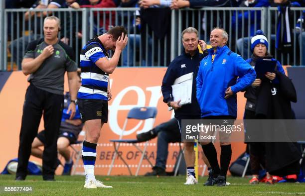 Freddie Burns of Bath reacts after being sent off during the Aviva Premiership match between Bath Rugby and Worcester Warriors at Recreation Ground...