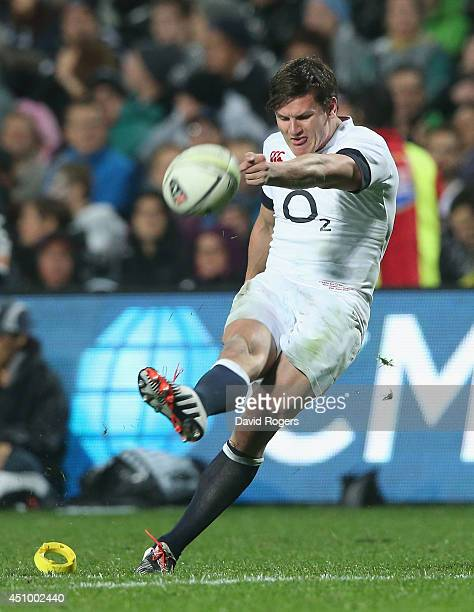 Freddie Burns of England kicks a penalty during the International Test match between the New Zealand All Blacks and England at Waikato Stadium on...