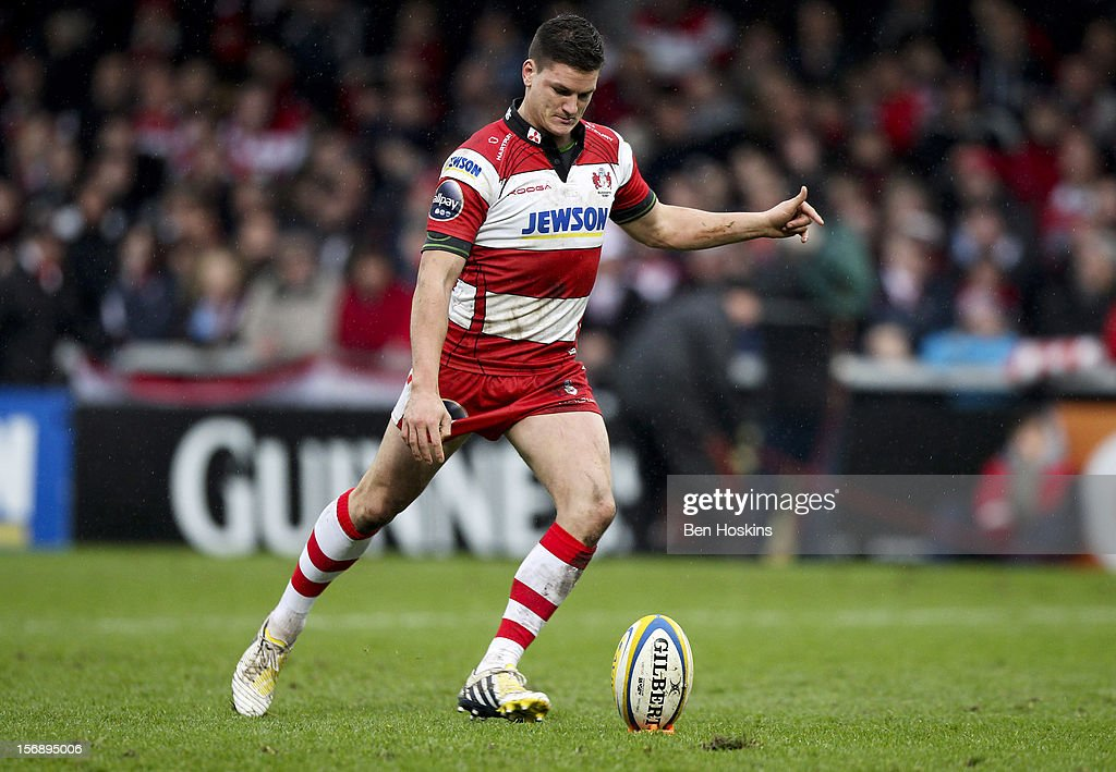 Freddie Burns of Gloucester in action during the Aviva Premiership match between Gloucester and Sale Sharks at the Kingsholm Stadium on November 24, 2012 in Gloucester, England.