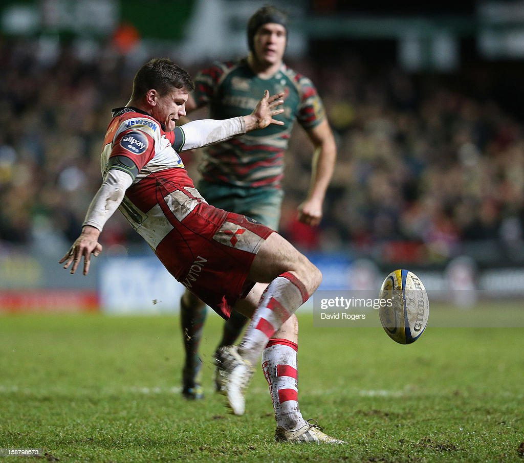 Freddie Burns of Gloucester kicks the ball upfield during the Aviva Premiership match between Leicester Tigers and Gloucester at Welford Road on December 29, 2012 in Leicester, England.