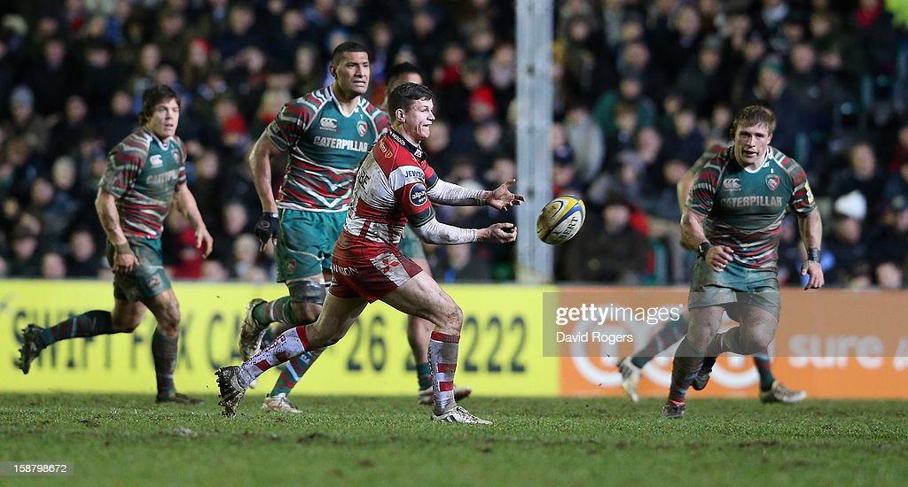 Freddie Burns of Gloucester passes the ball upfield during the Aviva Premiership match between Leicester Tigers and Gloucester at Welford Road on December 29, 2012 in Leicester, England.
