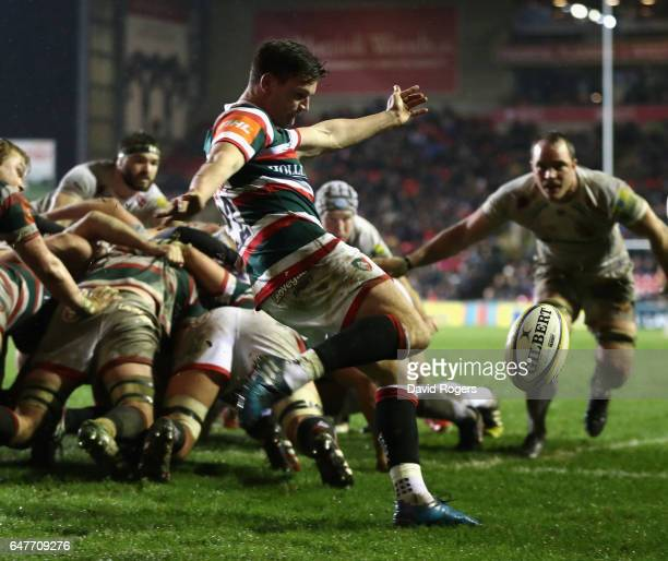 Freddie Burns of Leicester kicks the ball upfield during the Aviva Premiership match between Leicester Tigers and Exeter Chiefs at Welford Road on...