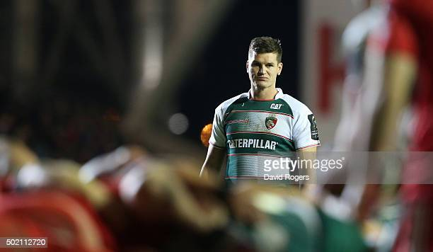 Freddie Burns of Leicester looks on during the European Rugby Champions Cup match between Leicester Tigers and Munster at Welford Road on December 20...