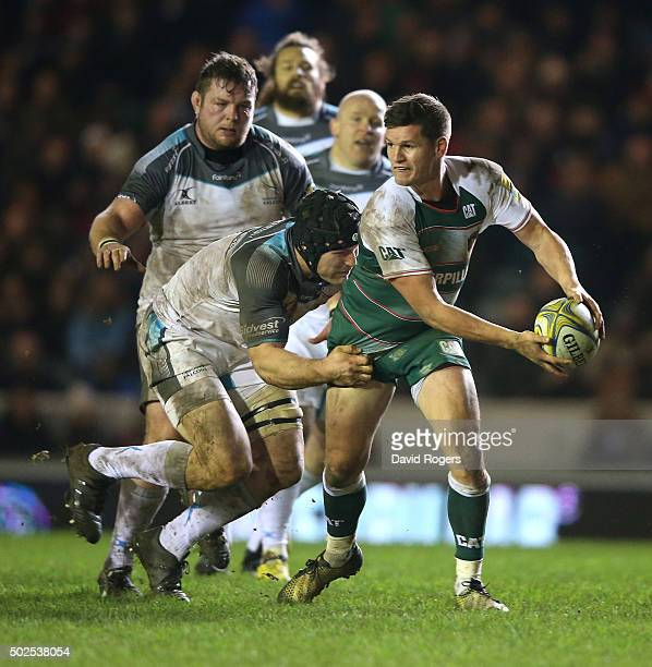 Freddie Burns of Leicester looks to pass the ball during the Aviva Premiership match between Leicester Tigers and Newcastle Falcons at Welford Road...