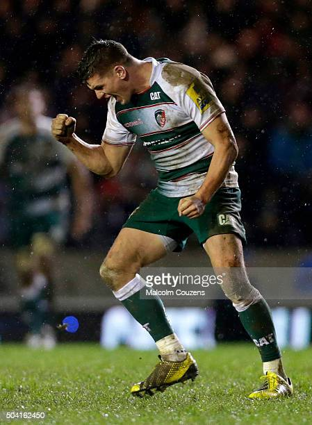 Freddie Burns of Leicester Tigers celebrates following the matchwinning penalty during the Aviva Premiership match between Leicester Tigers and...