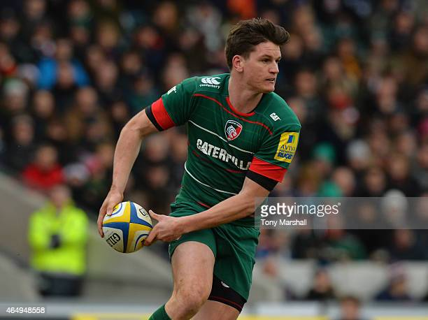 Freddie Burns of Leicester Tigers during the Aviva Premiership match between Leicester Tigers and Sale Sharks at Welford Road on February 28 2015 in...