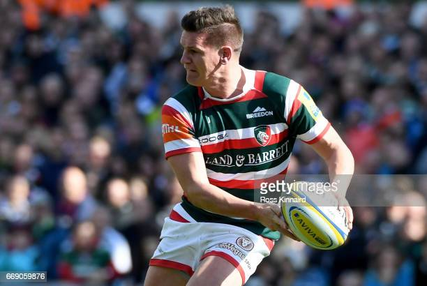 Freddie Burns of Leicester Tigers during the Aviva Premiership match between Leicester Tigers and Newcastle Falcons at Welford Road on April 15 2017...