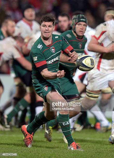 Freddie Burns of Leicester Tigers during the European Rugby Champions Cup Pool 3 match at the Kingspan stadium on January 24 2015 in Belfast Northern...