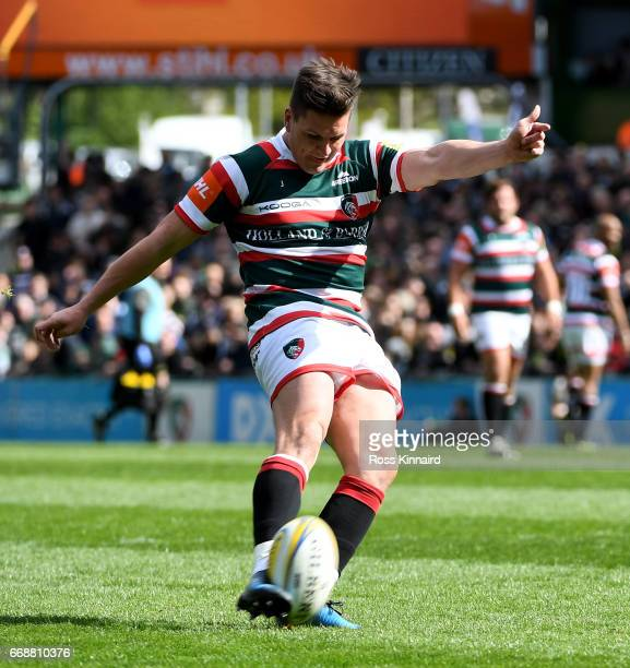 Freddie Burns of Leicester Tigers kicks a penalty during the Aviva Premiership match between Leicester Tigers and Newcastle Falcons at Welford Road...