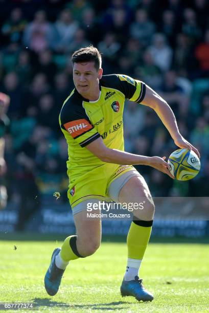 Freddie Burns of Leicester Tigers passes the ball during the Aviva Premiership match between Northampton Saints and Leicester Tigers at Franklin's...