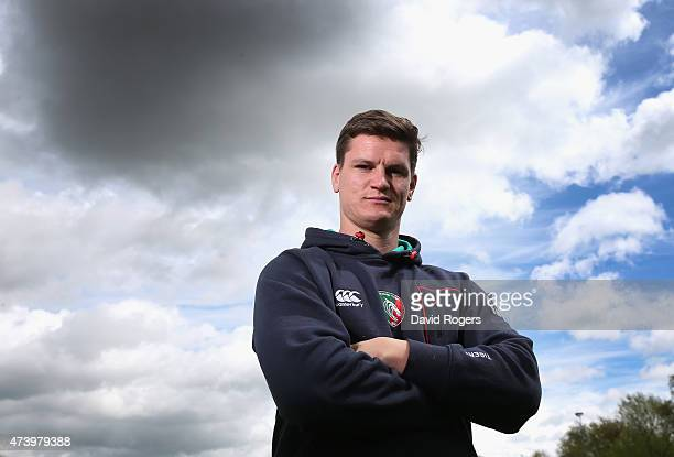 Freddie Burns the Leicester Tigers standoff poses during the Leicester Tigers media session held on May 19 2015 in Leicester England