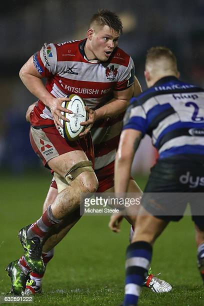 Freddie Clarke of Gloucester during the Anglo Welsh Cup match between Bath Rugby and Gloucester Rugby at the Recreation Ground on January 27 2017 in...