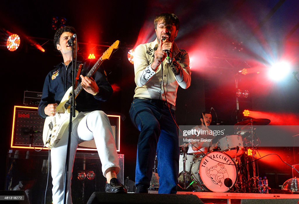 Freddie Cowan and Jay Jay Pistolet of The Vaccines perform on the BBC Radio 6 Music stage on day 3 of Latitude Festival at Henham Park Estate on July...
