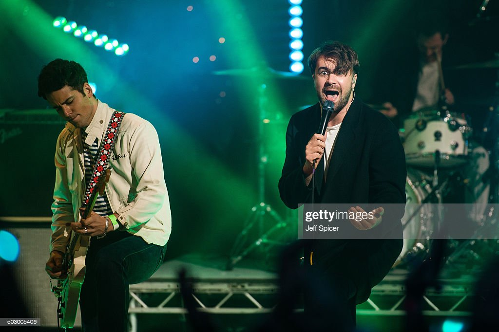 Freddie Cowan and Justin HaywardYoung of The Vaccines perform during the recording of 'TFI Friday' New Year's Eve special at the Cochrane Theatre on...