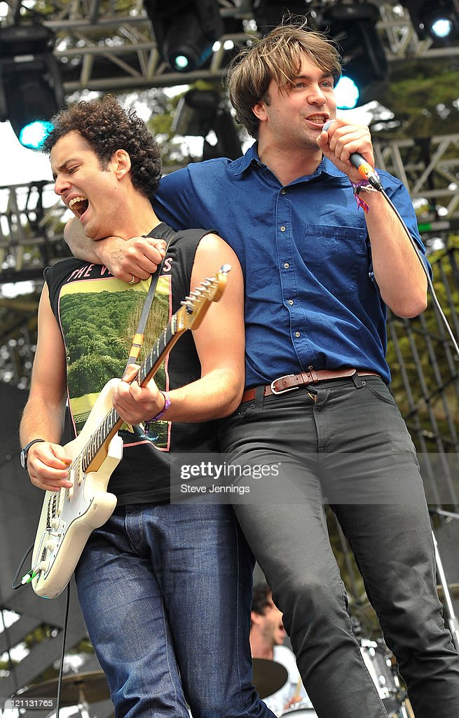 Freddie Cowan and Justin Young of The Vaccines perform on Day 2 of Outside Lands Music Festival at Golden Gate Park on August 13 2011 in San...