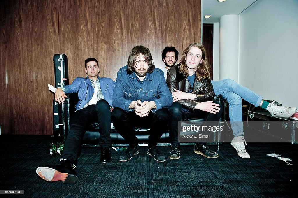 Freddie Cowan Justin Young Pete Robertson and Arni Arnason of The Vaccines sit for a portrait after performing on stage at at 02 Arena on May 2 2013...