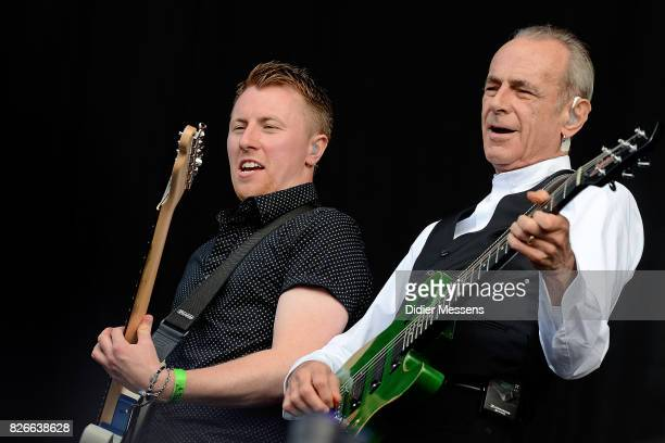 Freddie Edwards and Francis Rossi of Status Quo performing on stage during the first day of the Wacken Open Air festival on August 3 2017 in Wacken...