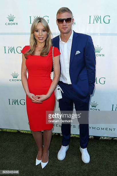 Freddie Flintoff and Rachael Flintoff arrive at the 2016 Australian Open party at Crown Entertainment Complex on January 17 2016 in Melbourne...