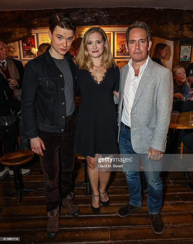 Freddie Fox, Amy Morgan and Tom Hollander attend the press night performance of 'Travesties' at Menier Chocolate Factory on October 4, 2016 in London, England.