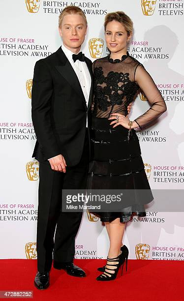 Freddie Fox and Dianna Agron pose in the winners room at the House of Fraser British Academy Television Awards at Theatre Royal on May 10 2015 in...