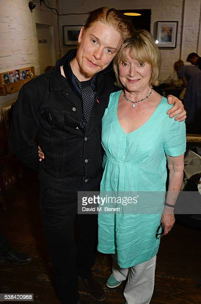 Freddie Fox and mother Joanna David attend the press night after party for 'A Midsummer Night's Dream' at Southwark Playhouse on June 6 2016 in...