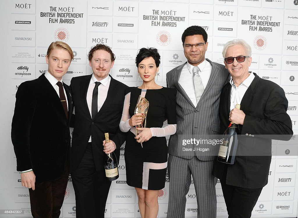 Freddie Fox, Caradog W. James, Pooneh Hajimohammadi, guest and Elliot Gould attend the Moet British Independent Film Awards 2013 at Old Billingsgate Market on December 8, 2013 in London, England.
