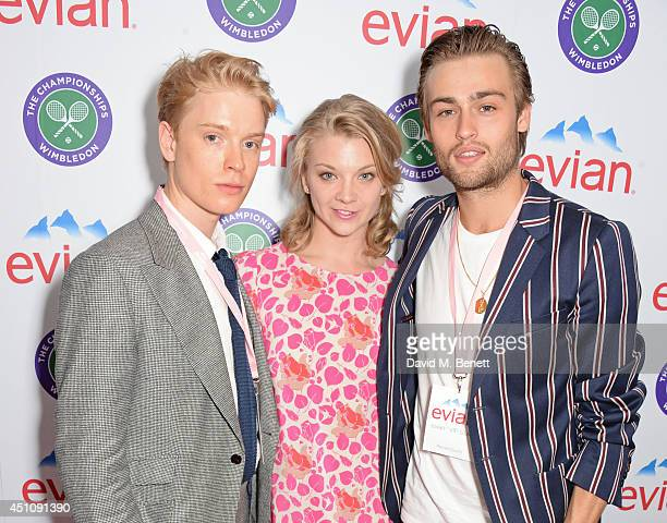 Freddie Fox Natalie Dormer and Douglas Booth attend the evian Live Young suite on the opening day of Wimbledon at the All England Lawn Tennis and...
