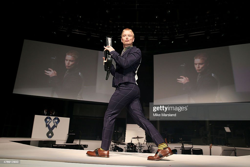 Freddie Fox on the catwalk during One For The Boys Fashion Ball hosted by Samuel L. Jackson, uniting men against cancer to kick start London Collections Men at The Roundhouse on June 12, 2015 in London, England.