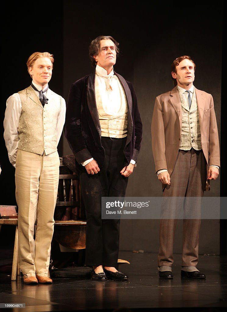 Freddie Fox, <a gi-track='captionPersonalityLinkClicked' href=/galleries/search?phrase=Rupert+Everett&family=editorial&specificpeople=206208 ng-click='$event.stopPropagation()'>Rupert Everett</a> and Cal Macaninch perform during press night for 'The Judas Kiss' at Duke of York's Theatre on January 22, 2013 in London, England.