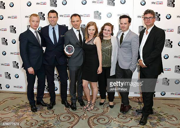 Freddie Fox Stephen Beresford Matthew Warchus Faye Marsay Jessica Gunning Andrew Scott and David Livingstone accept the Film award for 'Pride' in the...