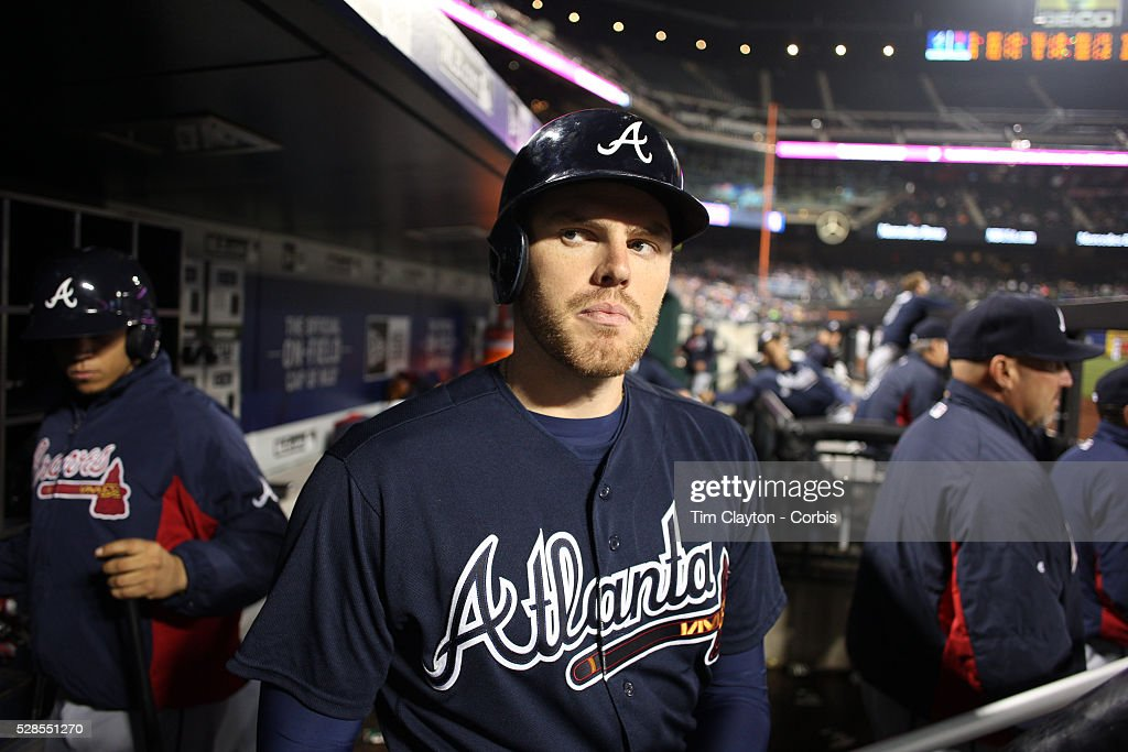 <a gi-track='captionPersonalityLinkClicked' href=/galleries/search?phrase=Freddie+Freeman&family=editorial&specificpeople=5743987 ng-click='$event.stopPropagation()'>Freddie Freeman</a>, (left), #5 of the Atlanta Braves in the dugout preparing to bat during the Atlanta Braves Vs New York Mets MLB regular season game at Citi Field on May 03, 2016 in New York City.